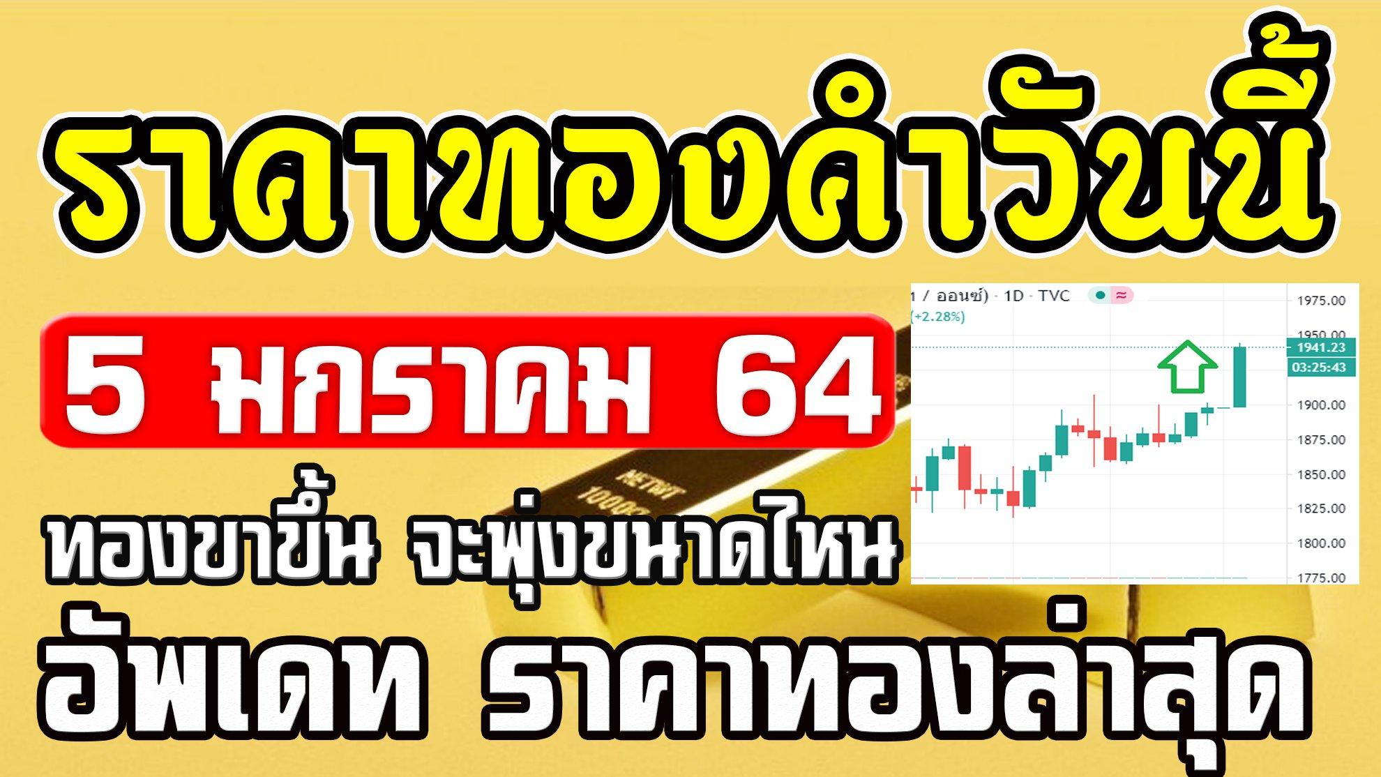 ราคาทองวันนี้ 5/01/64 ราคาทองคำวันนี้ 5มกราคม64 ราคาทองล่าสุด แนวโน้มราคาทองวันนี้ 5ม.ค.64
