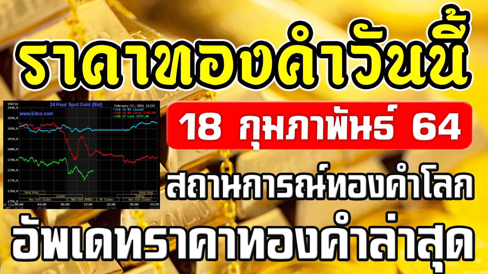 LIVE ราคาทองวันนี้ 18/2/64 อัพเดทสถานการณ์ทองคำโลก ราคาทองคำวันนี้ 18กุมภาพันธ์64 อัพเดทล่าสุด