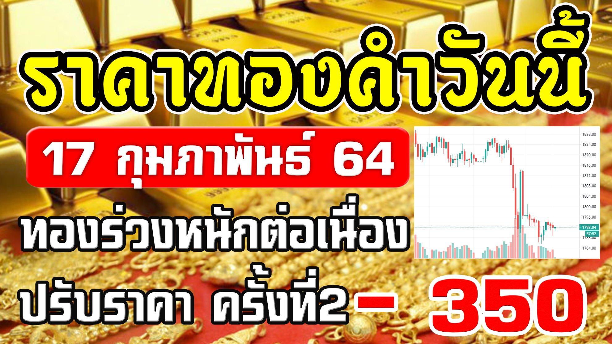 LIVEราคาทองวันนี้ 17/2/64 ทองร่วงต่อเนื่องครั้งที่2 ราคาทองคำวันนี้ 17กุมภาพันธ์64 อัพเดทล่าสุด