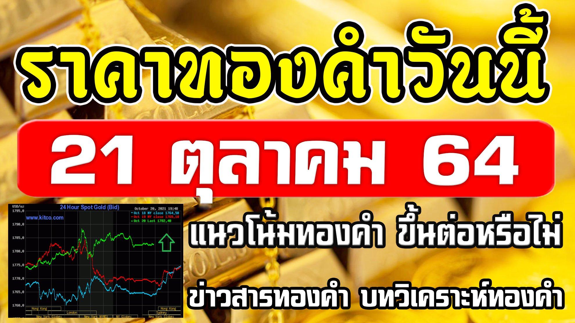 ราคาทองวันนี้ 21ต.ค.64 แนวโน้มทองคำ ราคาทองคำวันนี้ วิเคราะห์ทองคำ ปัจจัยทองคำ